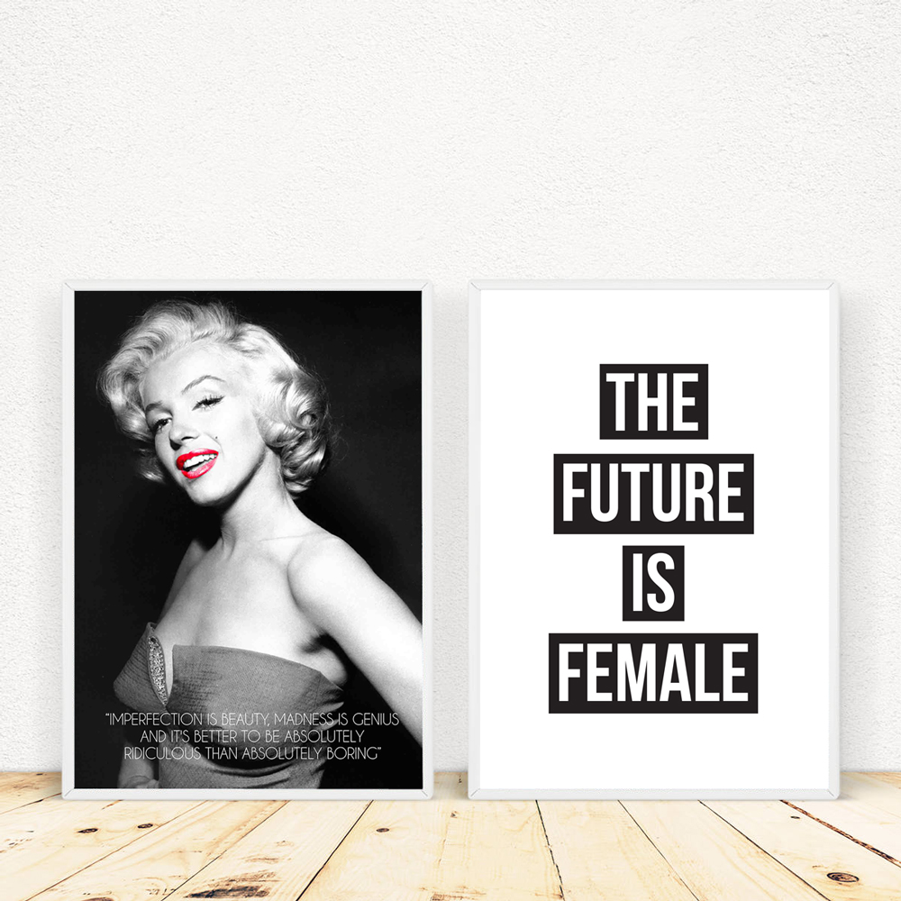 Deco Chambre Maryline Monroe us $5.02 27% off|marilyn monroe feminism quotes canvas painting prints and  poster sexy red lips wall pictures for living room wall art home