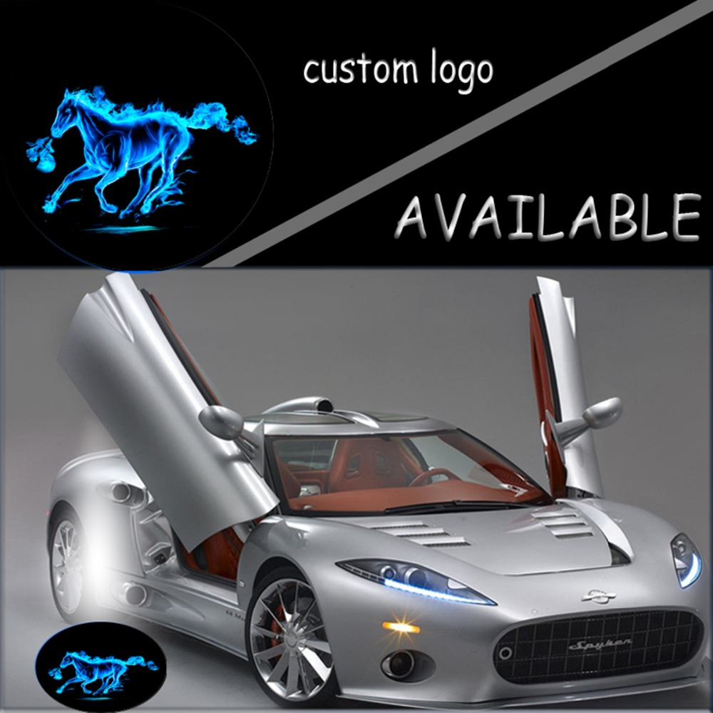 Pair Blue Fire Horse Mustang Logo LED Light 12V Car Door Welcome Light Projector Ghost Shadow Light For Ford #4866*4 2pcs projector laser auto open door welcome step logo led lights for ford blue mustang 50 years 5139