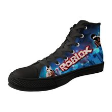 c81dfddfd694 Men Shoes High Top Black Canvas Vulcanized Shoes For Male Breathable  Lace-up High Quality Sneakers Funny Game Roblox Print
