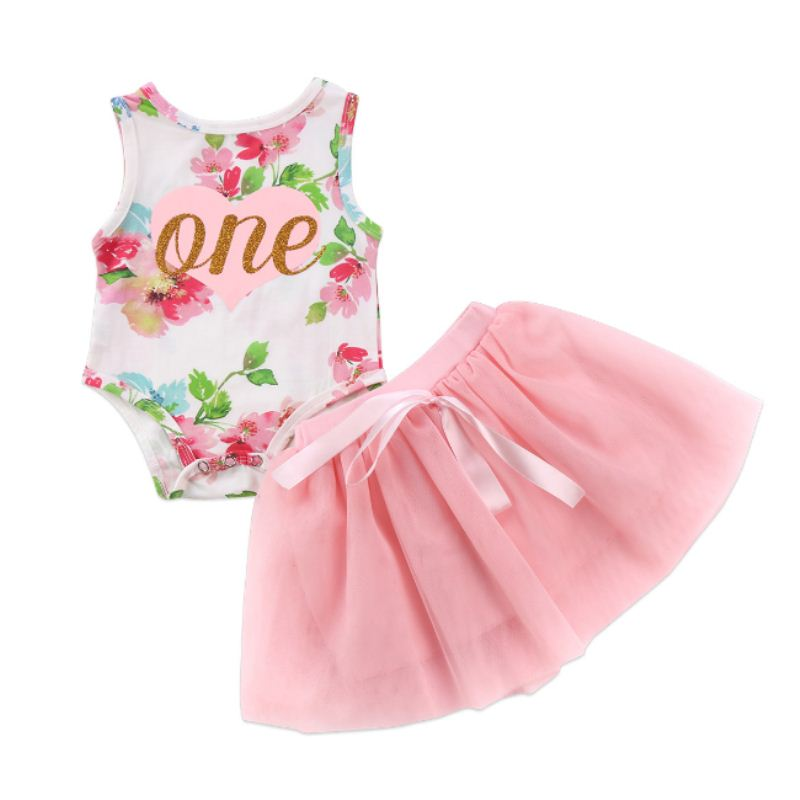 US Newborn Toddler Baby Girl Clothes Floral Tulle Romper Tutu Dress 2PCS Outfits