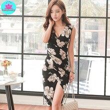цена Women's 2019 summer new Korean temperament V-neck waist slim slimming irregular print dress Sheath