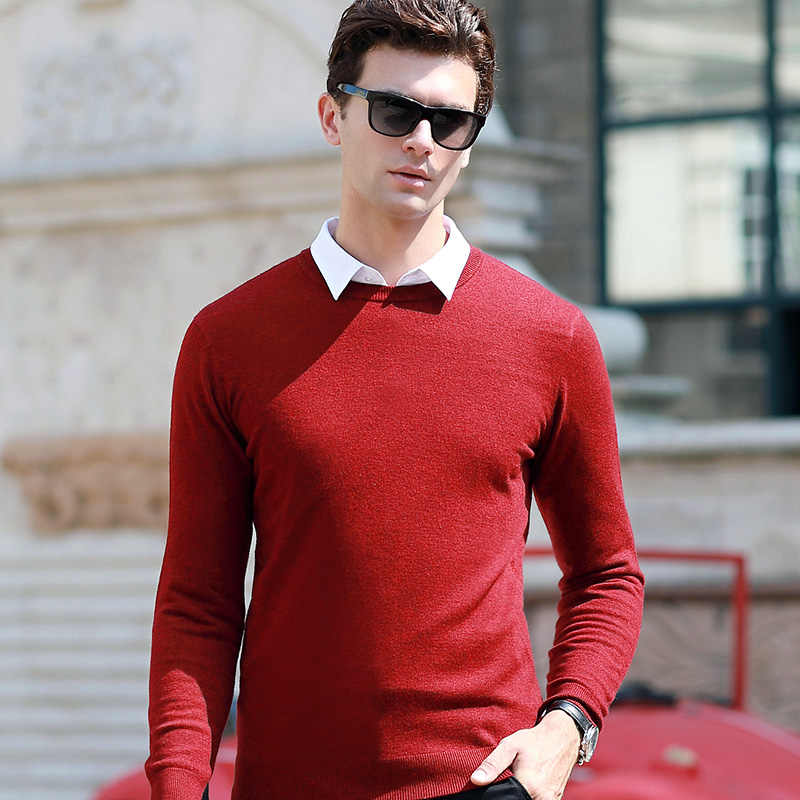 2019 Autumn Winter New Men's Slim Sweater Business Casual Thin Pullover Knitting Solid Color Brand Clothing Male blue red black