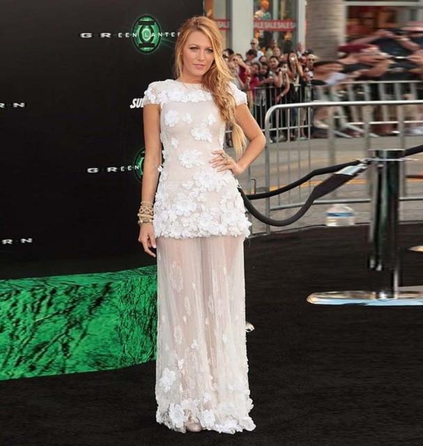 Gossip Girl Blake Lively Celebrity Dresses Cap Sleeve White Lace Sexy See  Through Long Evening Prom Dress Vestidos de noche 6e806f912e3e