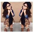 Vestido Da Menina de verão Definir Ropa Parágrafo Nina 3 pcs Tops + Conjunto De Menina Conjunto de Roupas de Leopardo Meninas saia + Cachecol Menina conjunto
