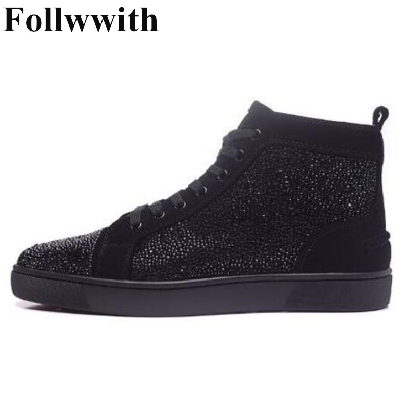 2018 Follwwith Bling Shinny Glitter Crystal Decor Men Casual Shoes Flats Lace Up High Top Males Sneakers Zapatos Party Shoes Men sneakers men casual shoes red bottoms shoes for men sneakers high top leather shoes men flats chaussure homme zapatos hombre
