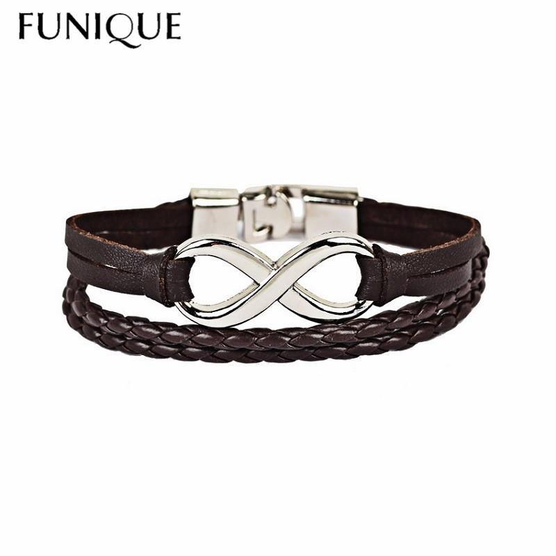 FUNIQUE Casual Sport Style Multilayer Infinit Bracelet For Men Black Brown Weaving Braided Leather Bracelet Jewelry Accessories