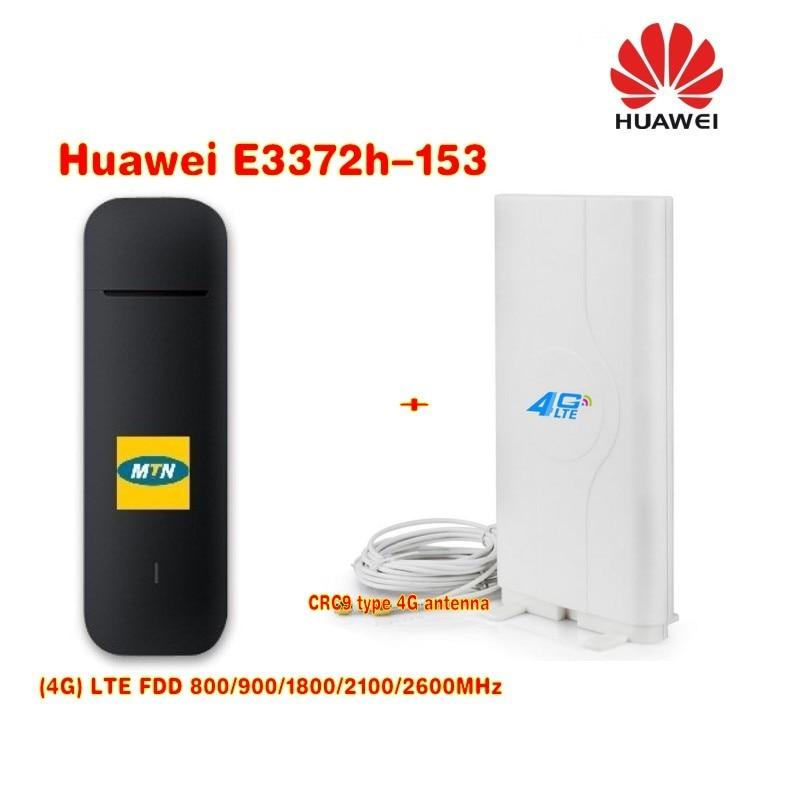 Original Huawei E3372h-153 4G Stick USB Modem+4g CRC9 49Dbi dual connector antenna