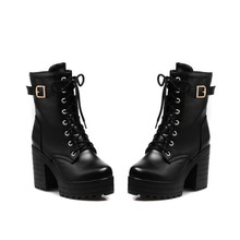 купить 2019 new winter boots women fashion high heels mid-calf boots for women  high platform quality leather shoes woman дешево