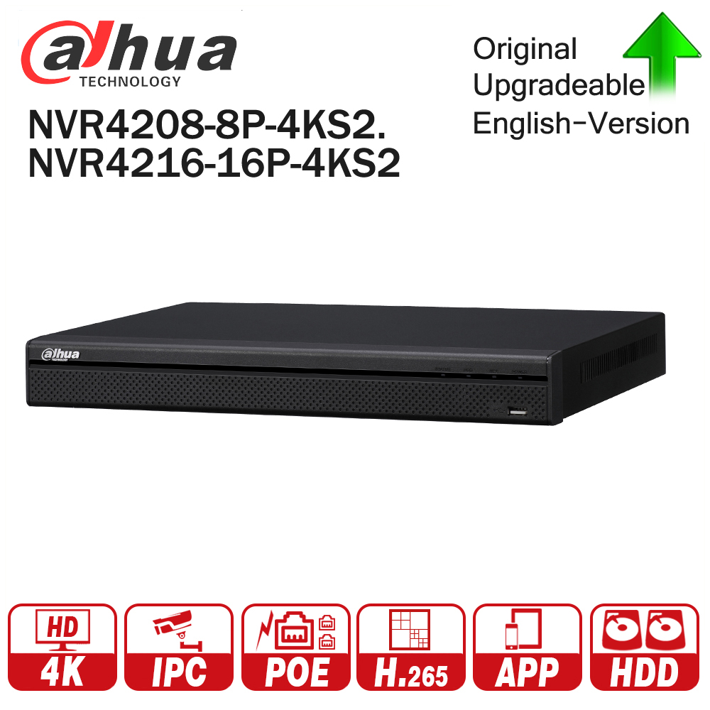 Dahua 4K NVR NVR4208-8P-4KS2 NVR4216-16P-4KS2 With PoE Port Support 4K POE H.265 2 SATA for Profession IP Camera Security System dahua network video recoder nvr4208 8p hds2 nvr4216 16p hds2 8 16ch nvr support onvif poe nvr recorder for poe camera