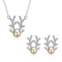 Jemmin Cute Deer Antlers Champagne Pearl 925 Sterling Silver Earrings Necklaces Bridal Jewelry Set Women Wedding