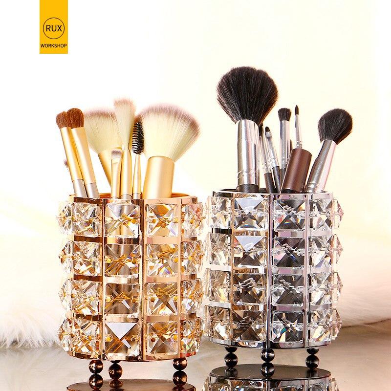 Europe Glitter Metal Makeup Brush Storage Tube eyebrow pencil stationery Jewelry storage box Pen Pencil Holder