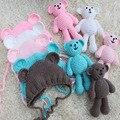 Newborn Fotografia Bebê Chapéu de Crochê Artesanal Urso Cap Bebê Beanie Recém-nascidos Photo Studio Props Infantil Fotografia Acessórios