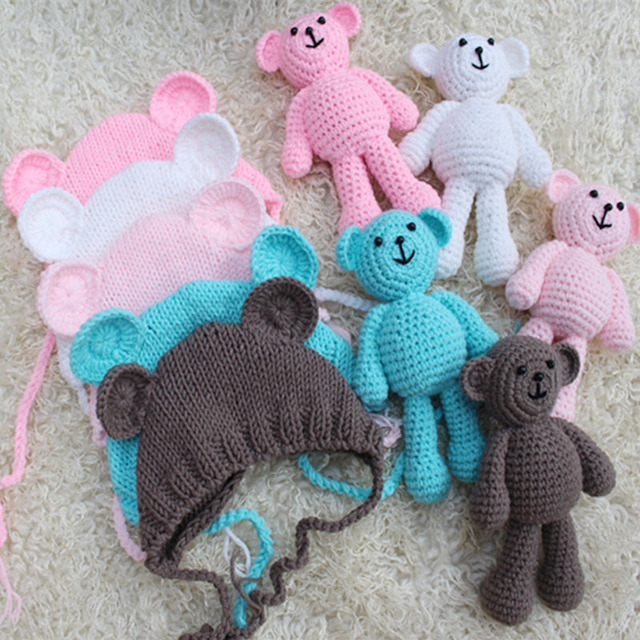 Newborn Photography Crochet Baby Hat Bear Handmade Baby Cap Beanie Newborn  Photo Studio Props Infantil Fotografia Accessories 3f03f59cddf