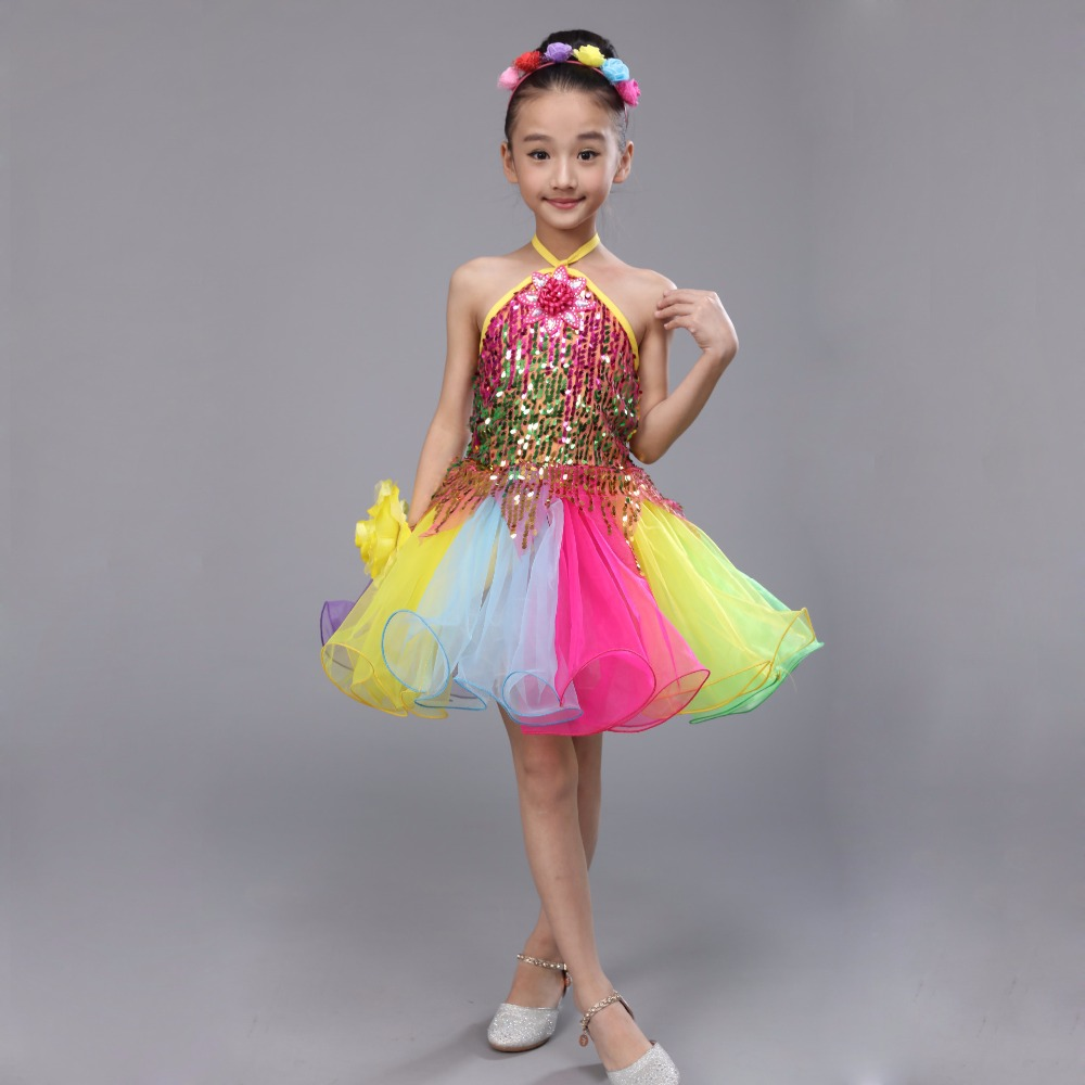 Retail Children Customs Ball Gown Girls Princess Colorful Sequined Mesh Dress Girl Dance Dresses WGW6009