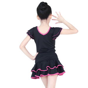 Image 2 - Children Latin Dance Dress V neck Short Sleeve Suit Dance Practice Clothes Girls Latin Dance Skirt