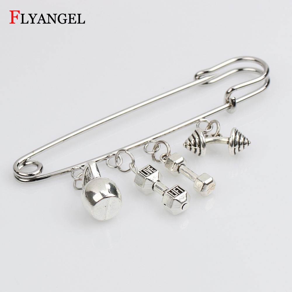 Motivation Dumbbell Brooch Fitness Kettleball Barbell Brooches Pins Clothes Coat Bag Kilt Pin Badge Jewelry for Women Men