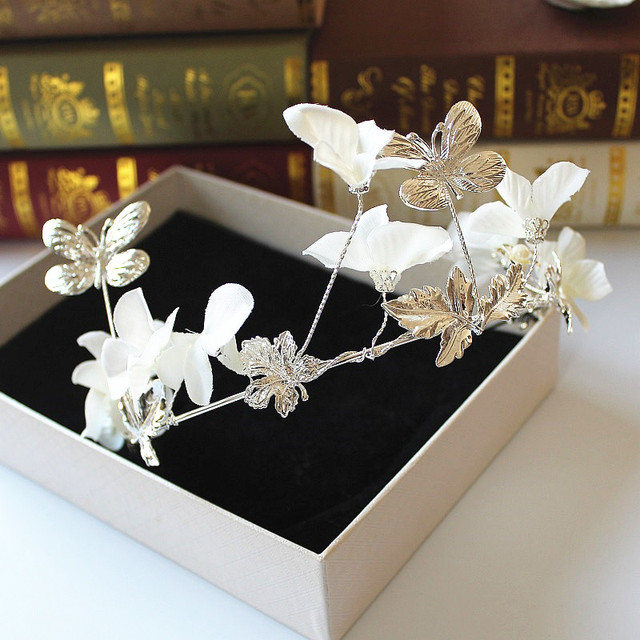 silver plated fabric flower butterfly hairband bridal tiaras and crowns wedding hair jewelry