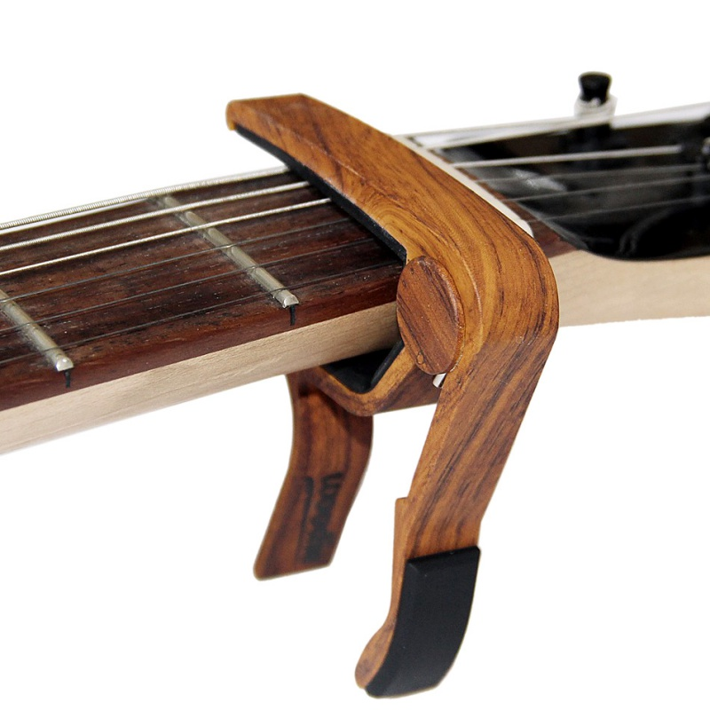 Quick Change Clamp Key Acoustic Classic Guitar Capo Adjust The Pitch Personalized Wood Grain Guitar Capo Guitar Accessories guitar rolling capo greg bennett design glider capo slides up