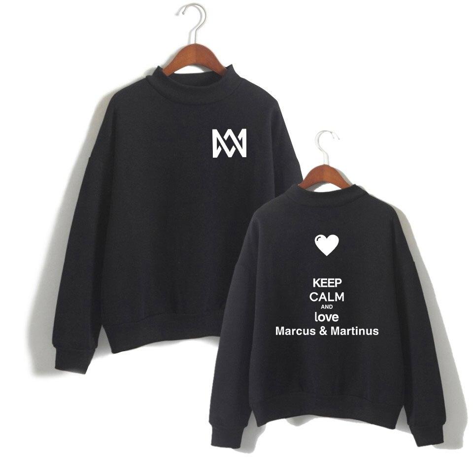 MARCUS & MARTINUS Women Hip Hop Women Sweatshirt Hoodie Pullover High Neck Casual Streetwear Harajuku Hoodie Tops
