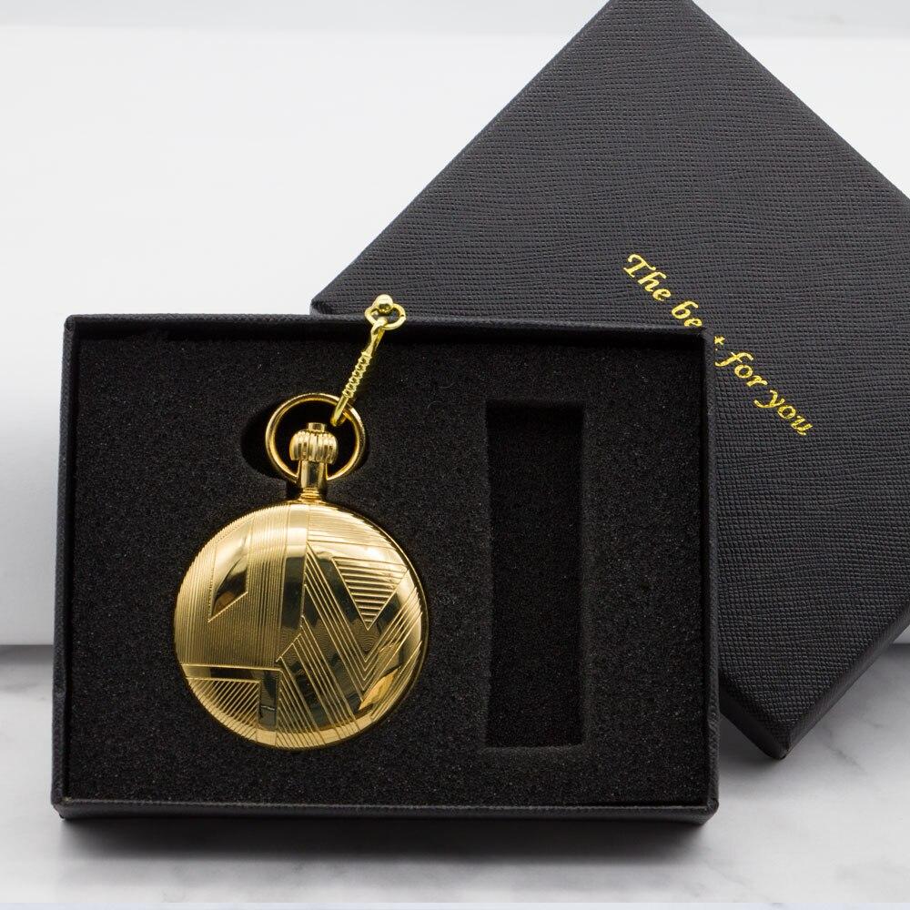 Montre de poche dorée montres de poche mécaniques Flip horloge collier rétro squelette Vintage poche Fob montre chaîne PJX1319