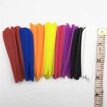 """100PCS 3 """"E bardhë e Kuqe E Zezë Blu e purpurtë Portokalli Verdhë e Verdhë Rozë Uji e Gjelbër Forma TPU Tretësirë Vanet Archery Arrow Feather"""