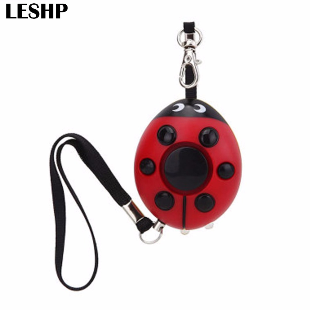 Self Defense Creative Beetle Shaped Alarm 130dB Personal Security Alarm With LED Flashlight Keychain For Women Elderly Kids personal guard safety security siren alarm with led flashlight white 2 cr2032
