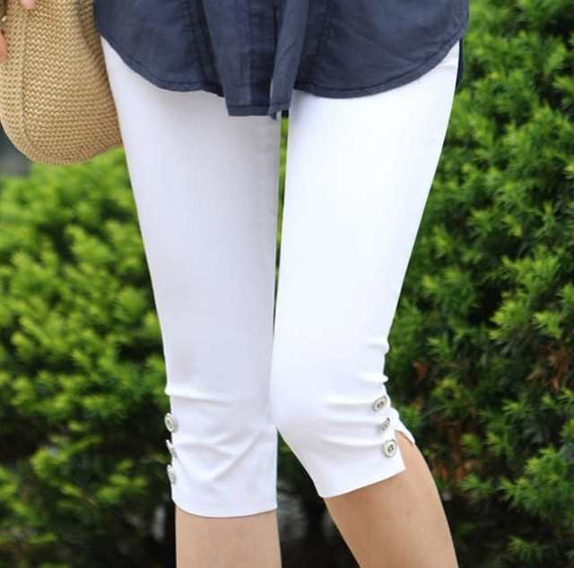 6155b608cd513 2018 Summer Style Candy Color Capris Pants Women Thin Summer Pants Ladies  High Waist Elastic Plus Size Pants