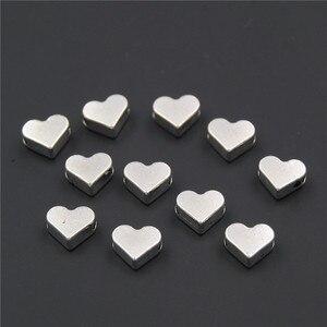 Miçangas espaçadoras artesanais 100 pçs, prata/ouro, coração europeu, buraco pequeno, ajuste, diy, encantador, pulseiras, acessórios