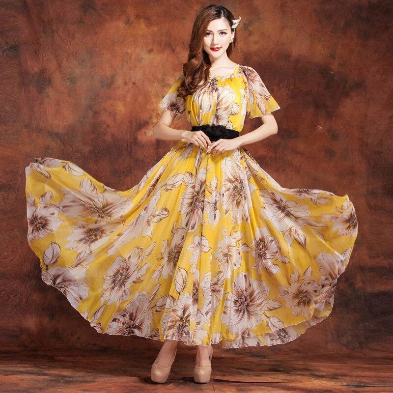 2018 Bohemia Summer Holiday Beach Wedding Party Guest Sundress Long Maxi Dresses Chiffon Bridesmaid Long Dress