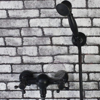 wall mounted two handles bathtub shower faucets.Black Oil Rubbed Bronze Bathroom tub shower faucets with hand shower GM 288A