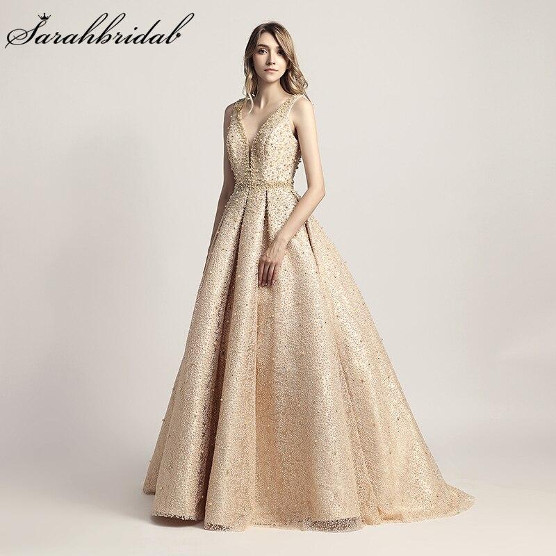 Em Stock Real Fotos New Arrivals Pérolas de Luxo Elegante Longo de UMA Linha de Vestidos de Noite vestidos de Festa Formal Vestidos Robe De Soiree LSX442