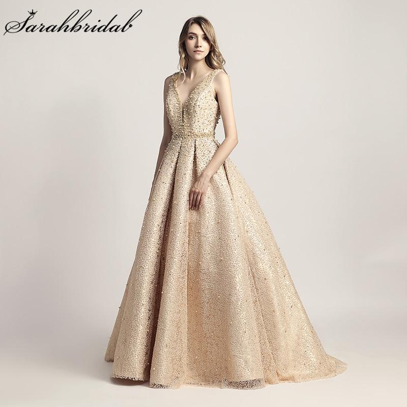 Luxury   Evening     Dresses   Long Dubai Arabic A Line Pearl Backless Party Gowns Floor Length Sleeveless Formal Robe De Soiree LSX442