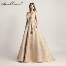 Fotografii reale 2018 Sosiri noi Luxury Elegant Long A Line rochii de seara Pearls Party Rochii Formal Robe De Soiree LSX442