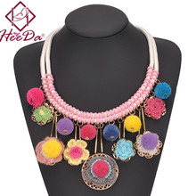 Hot Selling Exaggerated Boho Necklace Fashion Multi Tassel Neck Accessories Vintage Flower Kolye Graceful Statement Jewelry