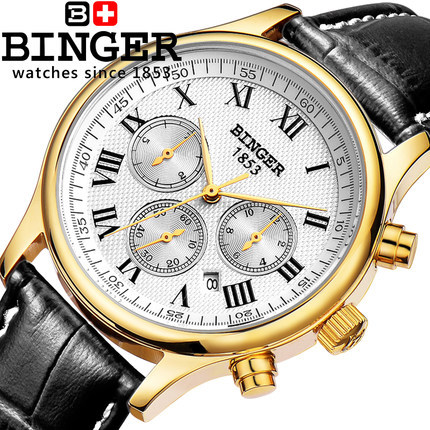 100% Authentic Binger 2016 New Fashion Top Quality Stainless Steel Geneva Women Watches Automatic Army Watch Mens Wristwatch