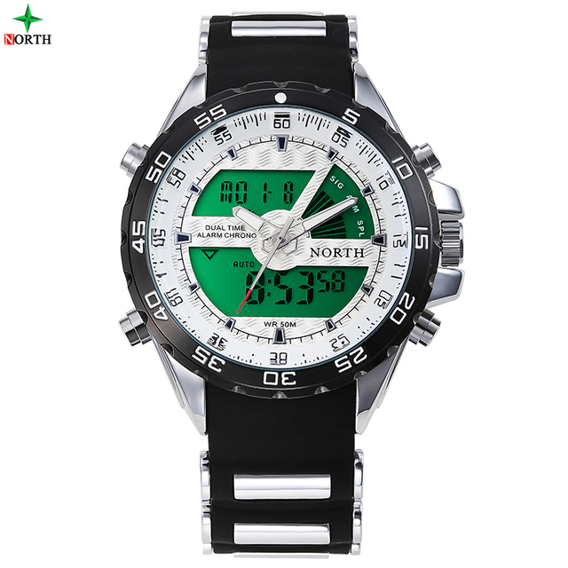 Men Sport Watch Analog Digital-watch LED Stainless Steel Waterproof Sport Wristwatch Box Silicone Military Dual Display Watches