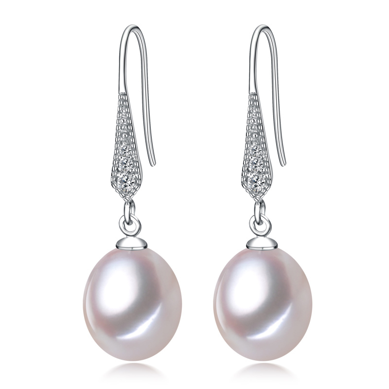 YIKALAISI 925 sterling silver Natural Freshwater Pearl Drop Earrings Smycken För Kvinnor 8-9mm Real Pearl White Pink Purple Black