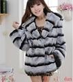 2016lisidun new fur coat rex rabbit hair fur medium-long rex rabbit fur coat with a hood rabbit fur overcoat