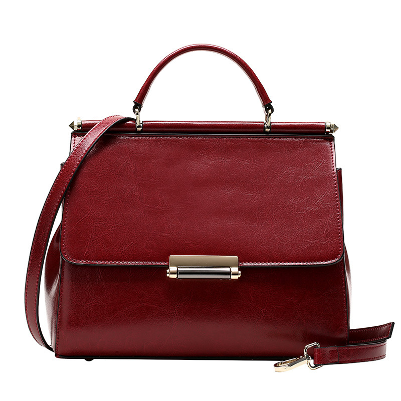 ФОТО All-match Wax Cowhide Handbag Leather Handbag and Shoulder Messenger Bag Small