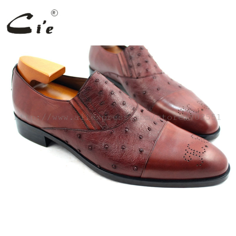 cie Free Shipping Handmade Bespoke Custom Ostrich Skin Leather Outsole Color Brown Patina Men's Loafer Shoe No.OS3 mackay craft cie free shipping handmade tassels buckle loafer brown white matching calf leather bottom outsole men shoe 3 crafts loafer66