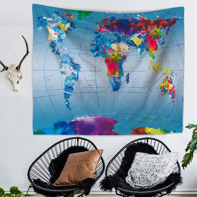 Zeegle World Map Printed Polyester Wall Tapestry Home Living Room Decor Space Sofa Chair Cover Soft Beach Towel Picnic Mats Carpets & Rugs Home Textile