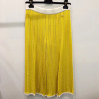 Женские свободные широкие брюки до середины икры Модные Повседневные Элегантные брюки для леди 2019 новые женские желтые шелковые брюки