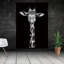 Conisi Modern Animals Wall Art Canvas Painting Zebra Elephant Giraffe Print and Poster Home Decor Black and White Animals Poster