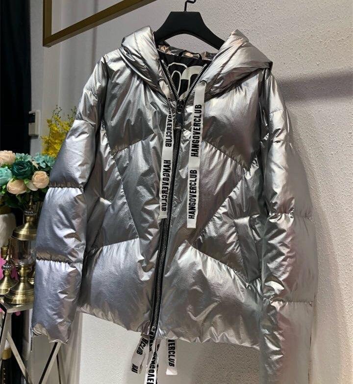 Streetwear Winter Women   Down     Coat   Loose Bread Overcoat Snow Parkas Silver Pink 90% White Duck   Down   Jacket