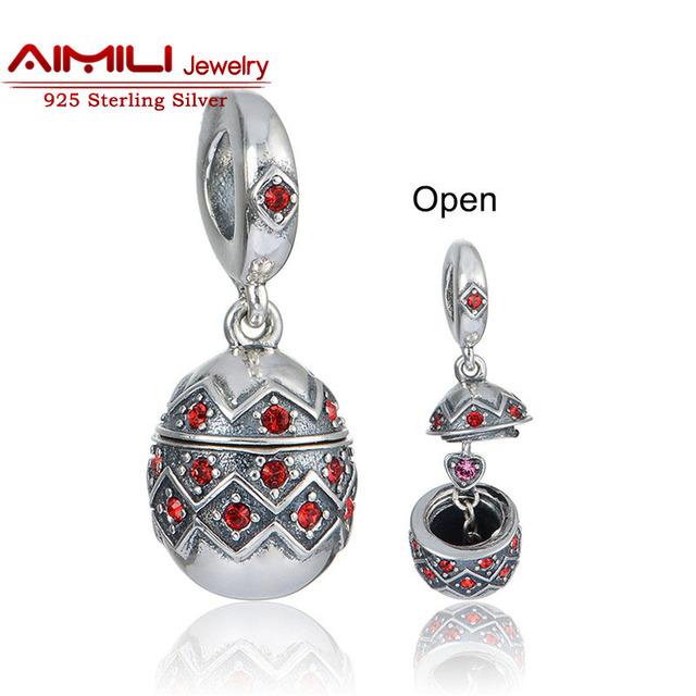925 plata esterlina encanto del huevo de pascua con el corazón interior 2016 nueva halloween beads charm gw joyería de marca s402