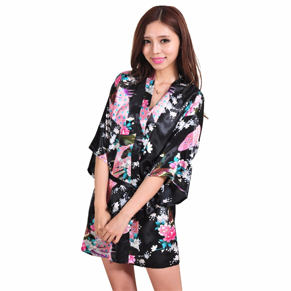 Sexy Mini Black Lady Summer Bath Robe Gown Silk Rayon Kimono Yukata Dress Flower Nightwear S M L XL XXL XXXL NR152