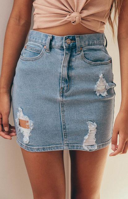 2019 nueva moda sexy lápiz azul Falda Mujer rasgado desgastado Denim stonelaved verano Mini falda señoras nuevo botón de bolsillo