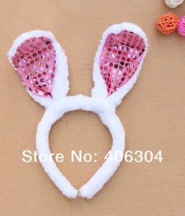 Детское взрослая пасхальное праздничное украшение с заячьими ушками и блестками, повязка на голову с заячьими ушками, 5 цветов