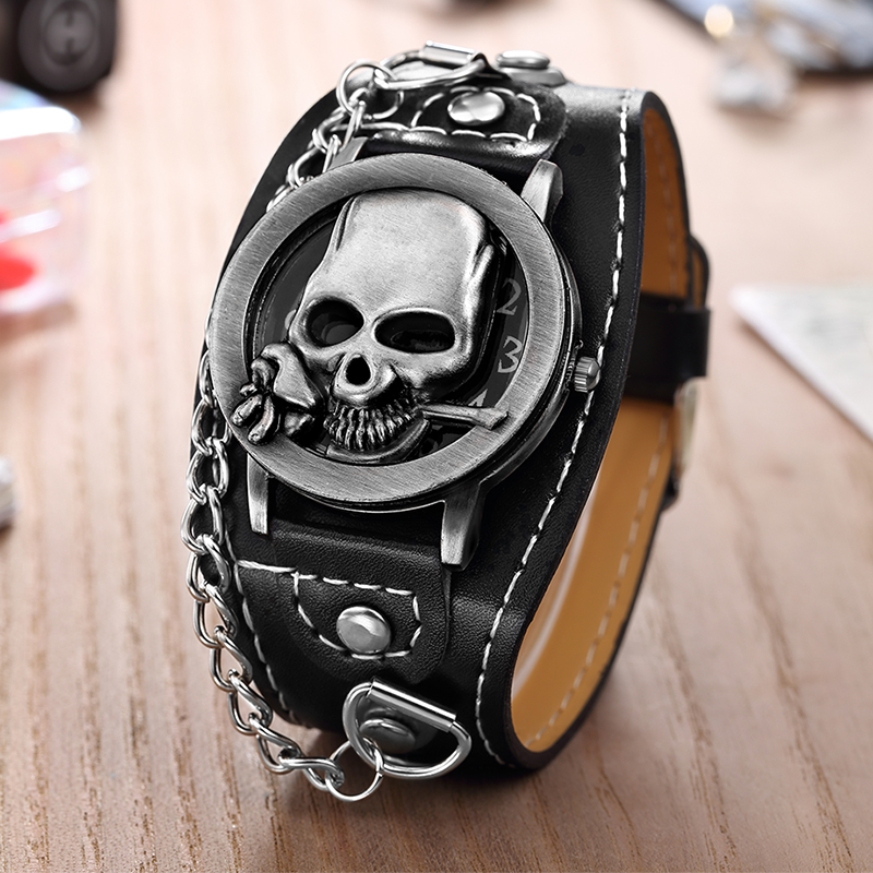 High Quality O.T.SEA Brand Rose Skull Quartz Punk Watches Luxury Leather Sports Watch Relogio Masculino 1831-5