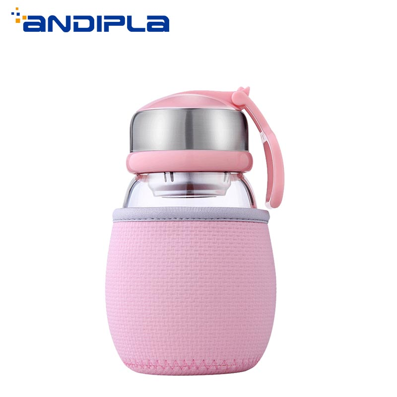 400ml Portable Sport Tumbler Lovely Penguin Style Transparent Glass Water Bottle with Stainless Steel Filter Flower Teacup Gifts